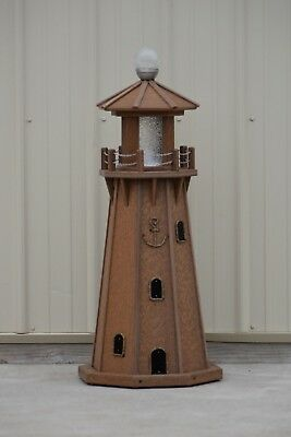 """39"""" Octagon Electric and Solar Powered Poly Lighthouse Antique Mahogany"""