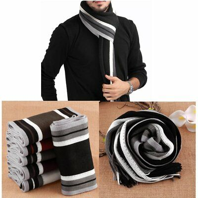 Hot Mens Cashmere Scarf Winter Warm Soft Fringe Striped Tassel Long Shawl Wrap E