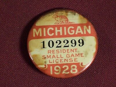 Michigan 1928 Resident Small Game License / Pin