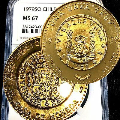 Chile 1979 So Una Onza Ngc Ms67 .9999  1 Oz Rare Gold Coin Low Mintage   Q64