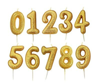 Glitter Candles Gold Birthday Number Cake Toppers