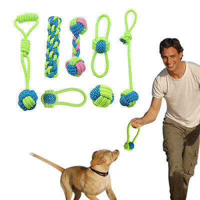 Interactive Dog Toys Pet Puppy Tug Play Chew Toy Durable Braided Cotton Rope Fun