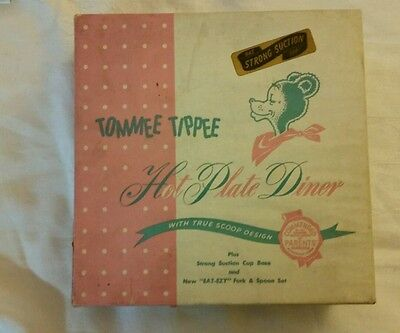 VINTAGE TOMMEE TIPPEE HOT PLATE DINER BABY FEEDING DISH  w/ FORK & SPOON