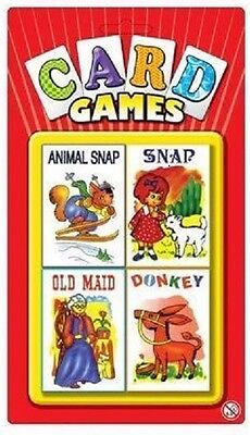 NEW  4 Card Games Children's Playing Cards Snap Old Maid Donkey Animal Snap Kids