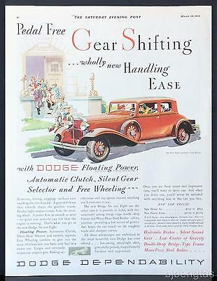 1932 Red Dodge Eight 5-Passenger Coupe Exter School Fred Cole Art Vintage Ad