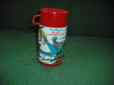 Vintage 1974 Alice In Wonderland. Plastic Lunch Box, Lunch Pail Thermos. Wow.
