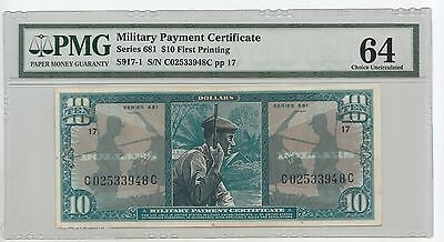 MPC MILITARY PAYMENT CERTIFICATE Series 681 $10 First Printing PMG 64 S917-1