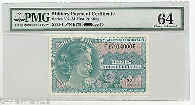 MPC MILITARY PAYMENT CERTIFICATE  Series 692 $1 First Printing PMG 64 S-935-1
