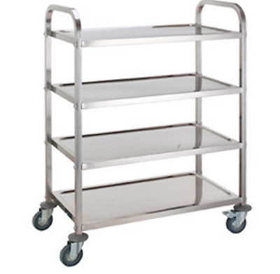 4 Tier Stainless Steel Kitchen Dining Food Trolley Serving Utility Bench Cart E0