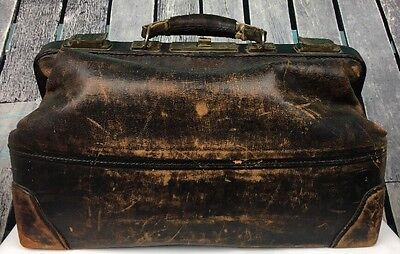 Antique Leather Doctors Bag Satchel Brown Dr Medical Brass Hardware MI255
