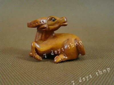 Chinese Zodiac OX Old Boxwood Carving Statue Wood Sculpture Wooden Craft W304