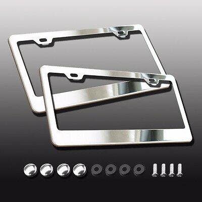 2PCS Silver Stainless Steel License Plate Frame Tag Cover Screw Caps for US Car