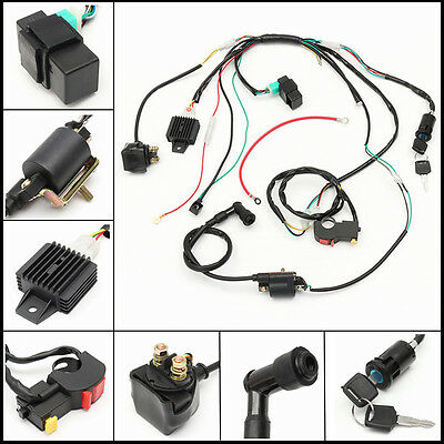 Electric Wire Wiring Harness Cdi Coil Assembly For 50-110Cc 125Cc Atv Quad Buggy