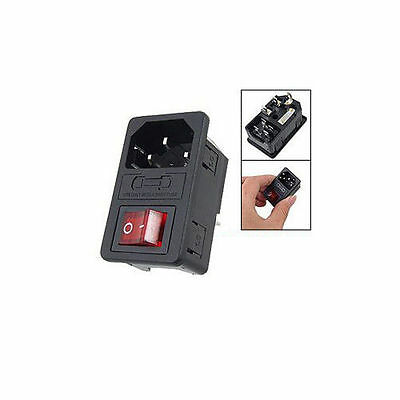 Sodial(R) Inlet Male Power Socket with Fuse Switch 10A 250V 3 Pin IEC320 C14 TS