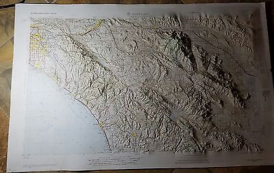 Cool 1964 3D Relief Map Santa Ana Coachella Valley
