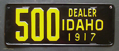 1917 Idaho Dealer License Plate - Rare embossed - 3 known