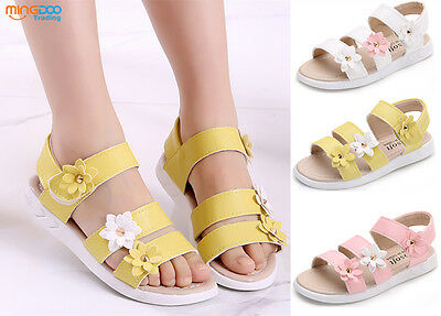 New Summer Children Youth Girls Sandals Kids Princess Flower Shoes Size 7-3