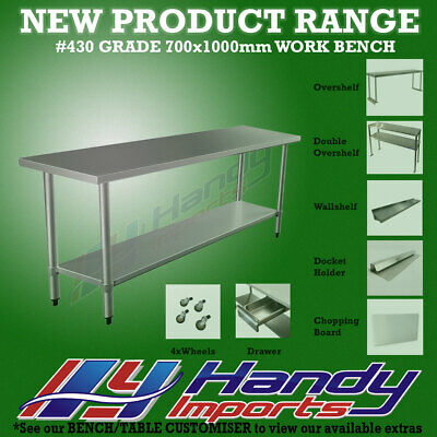 1000mm x 700mm NEW STAINLESS STEEL WORK BENCH KITCHEN FOOD PREP CATERING TABLE
