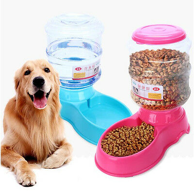 New Pet Food Drink Dispenser Large Automatic Dog Cat Feeder Water Bowl Dish 3.5L