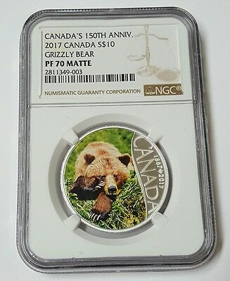 2017 $10 Canada 150Th Silver  Ngc Pf70 Matte Grizzly Bear