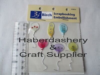Foam Stickers 6 Balloons With Wavy Wire String Pastels