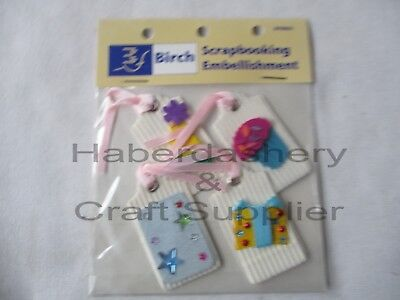 Foam Stickers 4 Gift Tags With Pink Ribbon String Pastels