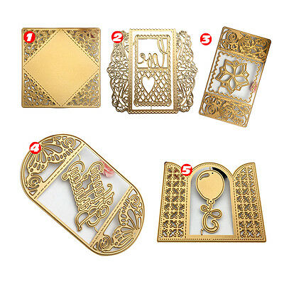 Golden Metal Flower Square Balloon Window Cutting Dies Scrapbook Stencil Cutters