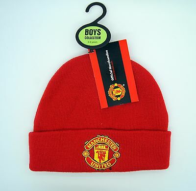 Manchester United Official Knitted Beanie Hat 7-12 Years