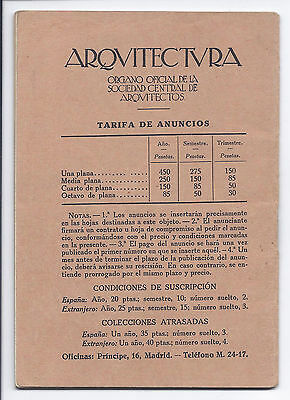 Folleto Honorarios Arquitectos. 1923 Brochure Fees Architects