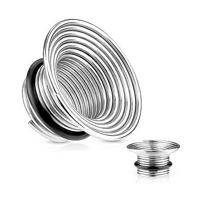 Single Flare 316L Surgical Steel Wire Coil Flesh Tunnel / Plug / Ear Stretcher