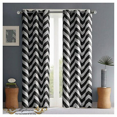 Modern Chevron Zigzag Black White Curtain 80% Light Blackout Eyelet Top Curtains