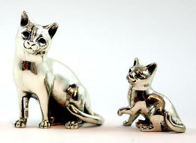 SATURNO Pair of Sterling Silver, Miniature Sitting Cat & Kitten, Perfect