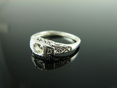 5806 Ring Setting Sterling Silver Size 6.5, 4 Mm Round Stone