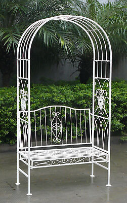 Charles Bentley White Wrought Iron Shabby Chic Outdoor Arch Archway & Bench