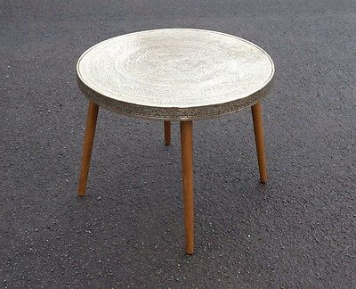 Brass Top Moroccan Vintage Side Table, Mid Century Wooden Dansette Tapered Legs