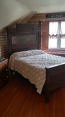 Full Antique bedroom set...headboard, footboard, side rails, dresser & mirror..
