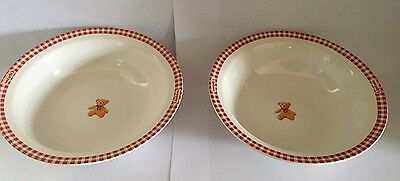 """Adorable Pair Of 6 3/4"""" Lipton Gund Teddy Bear Ceramic Cereal Soup Bowls Dishes"""