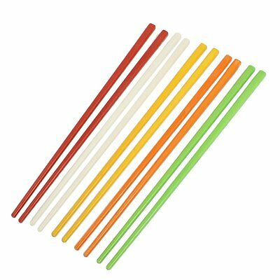 "5 Pairs Assorted Color Plastic Chinese Chopsticks 8.7"" Long K1U5"