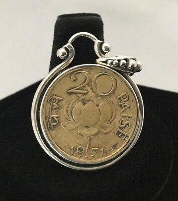 INDIA 1971 20 PAISE RARE COIN 925 Sterling Silver Heavy Unique Setting