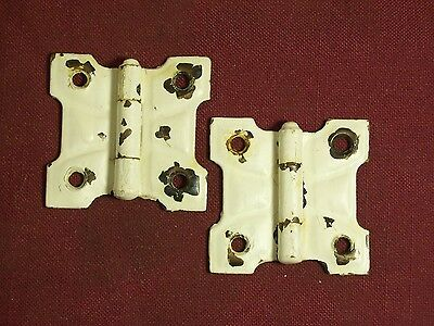 "Antique Pair of Reclaimed Butterfly Hinges 2  X 1 7/8"" old paint"