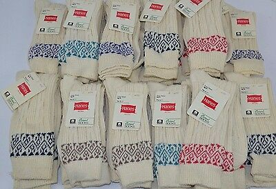 Vtg 80's Lot of 24 prs HANES Red Label THICK Textured Casual Textured Socks 9-11