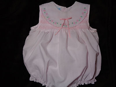 Baby Girl's Vintage Smocked and Hand Embroidery Romper, 12  Months, By Jamie M,