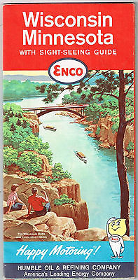 Vintage 1962 ENCO Wisconsin & Minnesota Travel Road Map