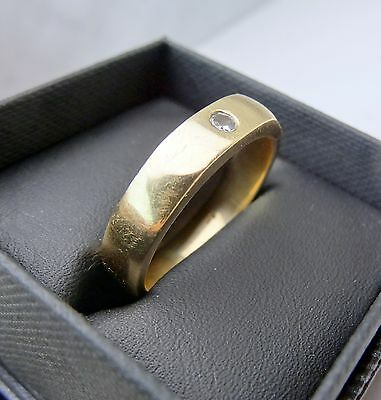 Large Mens 9K Solid Yellow Gold Diamond Ring