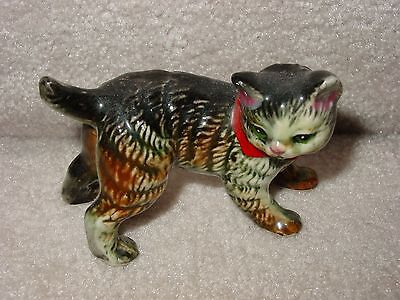 Vintage Porcelain Black Brown White Cat With Red Ribbon Figurine