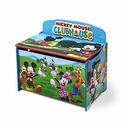 Delta Mickey Mouse Clubhouse Deluxe Wooden Toy Storage Toy Box Organizer NEW