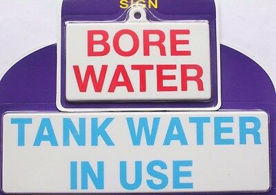 Stick On / Screw On - Tank Bore Water Sign Plastic Workplace Business Home House