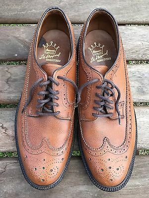 Hanover LB Sheppard Signatures Brown Textured Leather Wing-Tip BROGUE Size 9.5 D