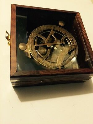 Solid Brass Collectable Large Sundial Compass With Wooden Box (Amat 1144)