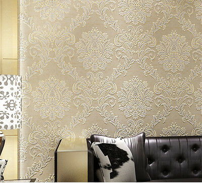 Quality Damask Embossed 3D Textured Feature Wall Paper Wallpaper Roll 10M